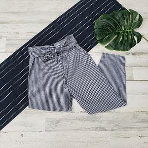 Free People  Gingham Tie Waist Crop Pants Size 6